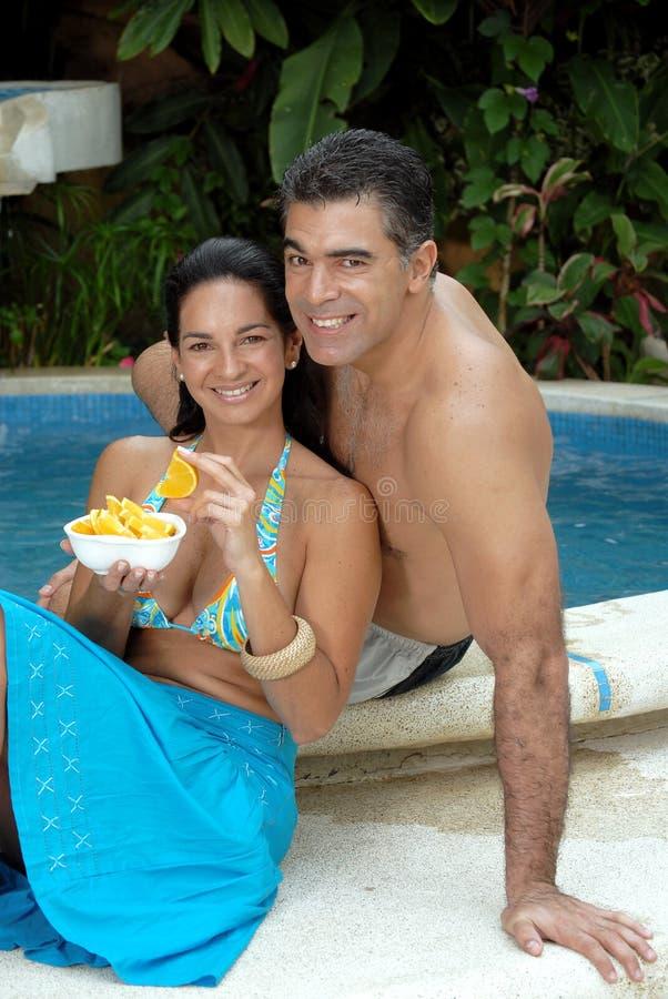 Couples oranges tropicaux. photos libres de droits