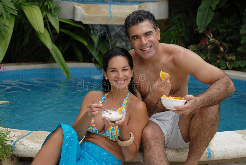 Couples oranges tropicaux. images stock