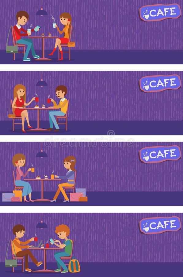 Couples of people in cafe. Vector Illustration with friends men and women sitting at tables. Couples of people in cafe eat, drink and use phone. Templates for vector illustration
