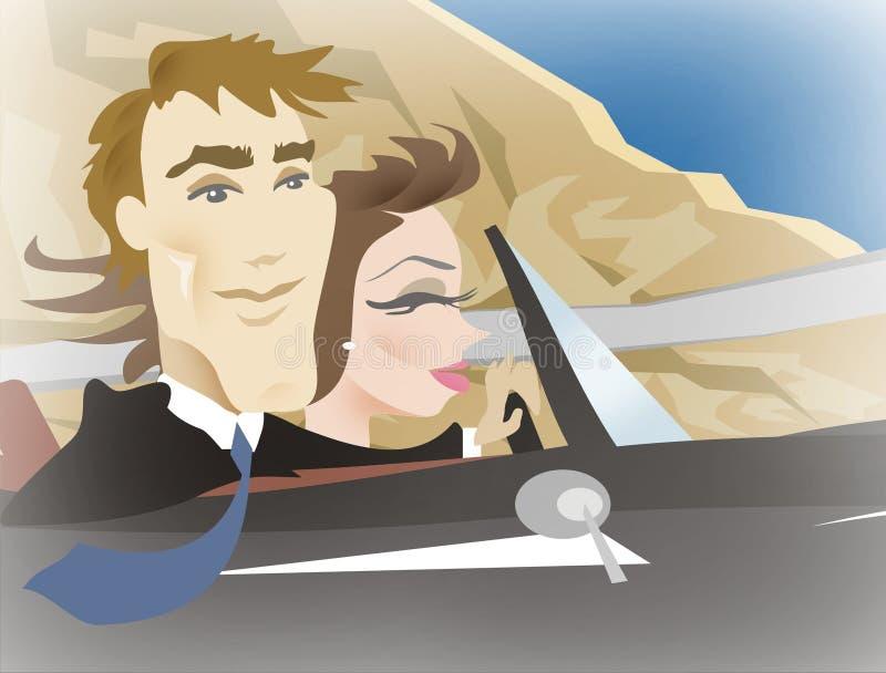 Couples pilotant l'illustration illustration de vecteur