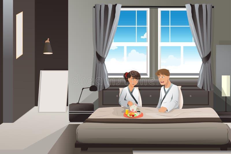 Couples prenant le petit déjeuner dans le lit illustration libre de droits