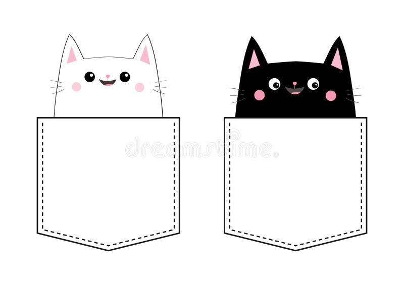 Couples réglés d'amour de chat blanc noir dans la poche Joue rose Animaux de compagnie mignons de bande dessinée Caractère de min illustration libre de droits
