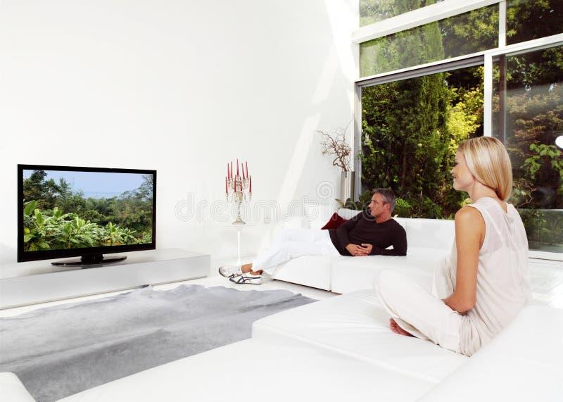 Couples regardant la TV photographie stock libre de droits