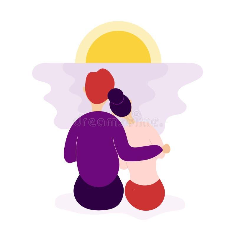 Couples romantiques dans le coucher du soleil de observation d'amour ensemble illustration de vecteur