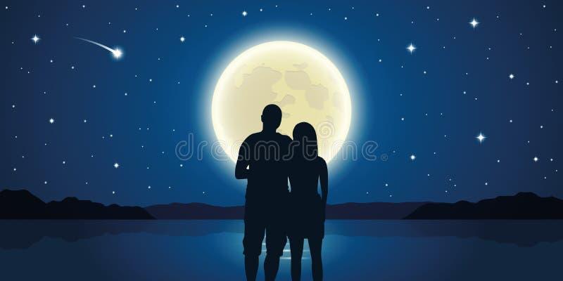 Couples romantiques de nuit dans l'amour à la mer avec la pleine lune et les étoiles filantes illustration libre de droits