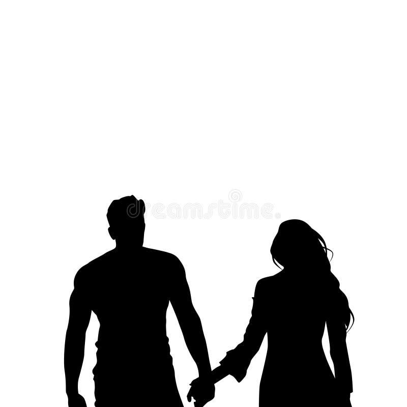 Couples romantiques de silhouette noire jugeant des mains d'isolement au-dessus des amants blancs homme et femme de fond illustration stock