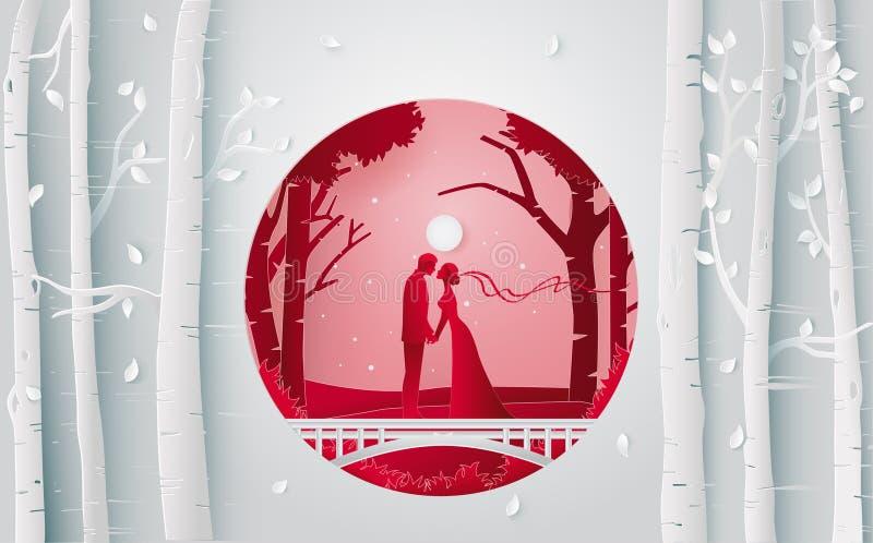 couples romantiques embrassant dans la forêt quand ils ont la noce illustration de vecteur