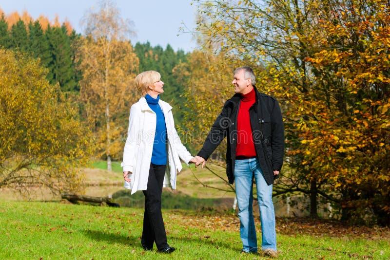 Couples romantiques tenant la marche de mains image stock