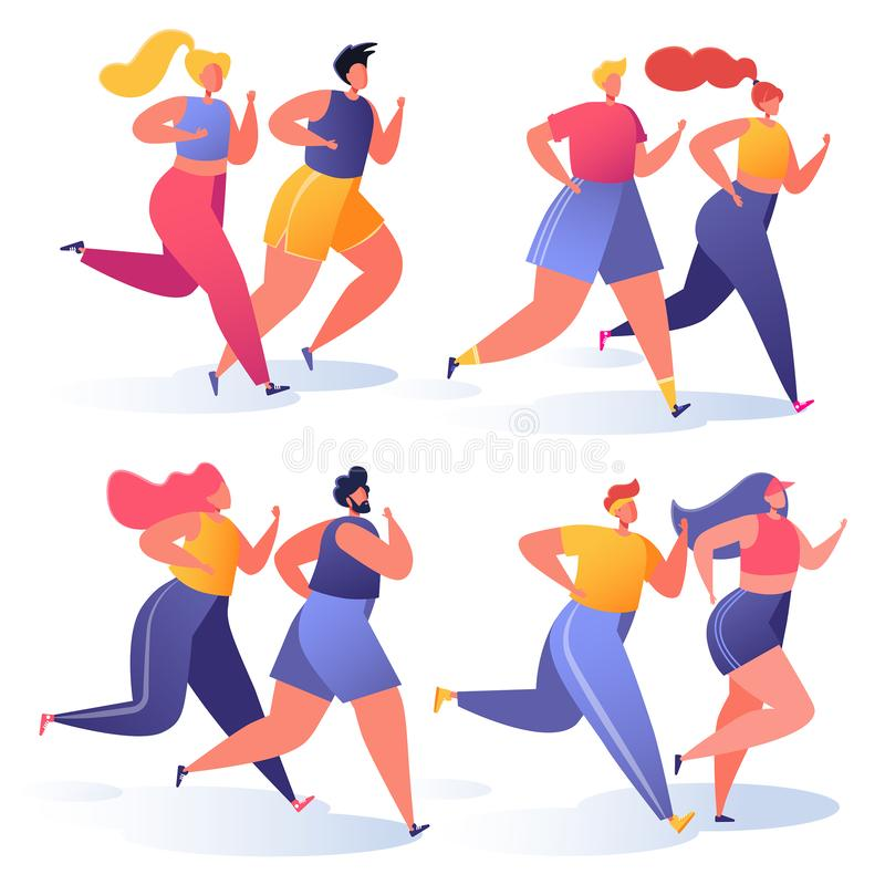 Summer outdoor sports activities. Vector illustration with couples of people characters running, doing workout outside. Flat, cartoon, trendy, healthy royalty free illustration