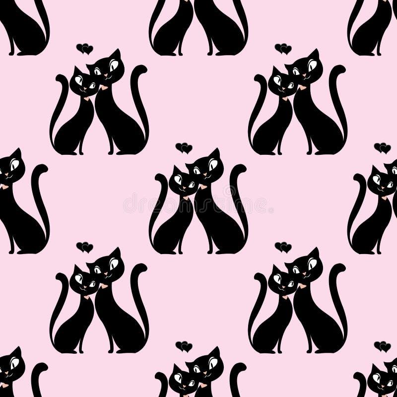 Couples sans couture de modèle des amants des chats illustration stock