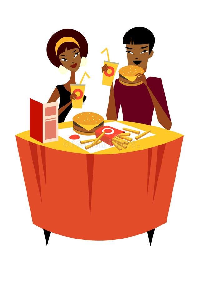 Couples se reposant à une table illustration de vecteur