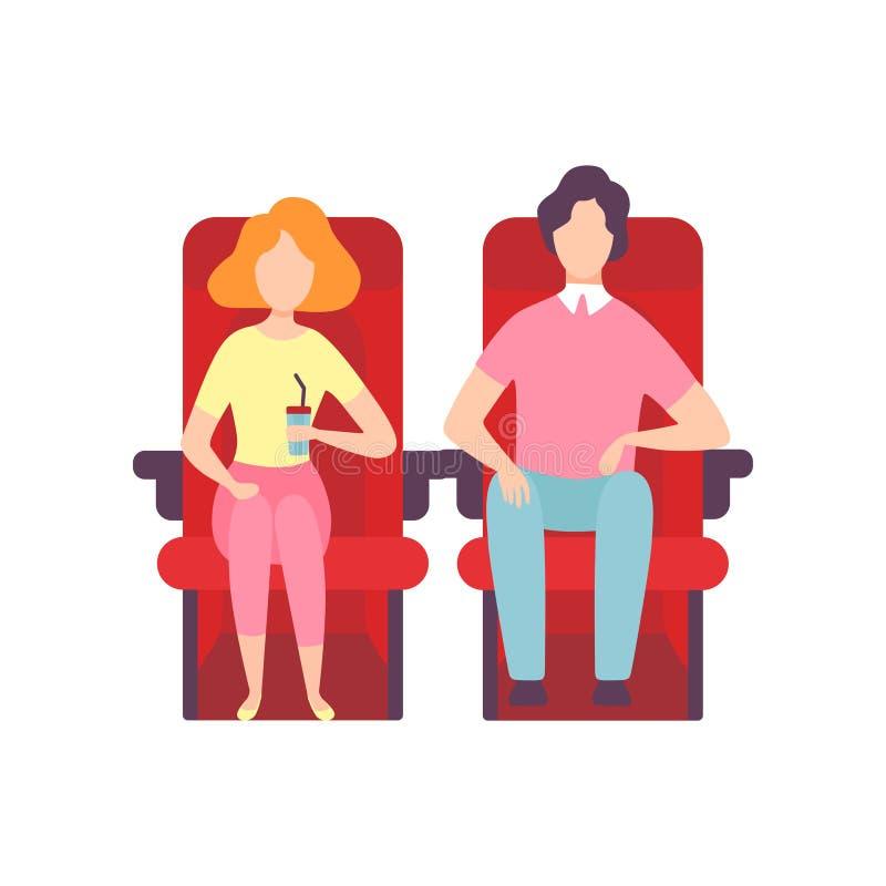 Couples se reposant dans le théâtre de cinéma et le film de observation, le jeune homme et la femme regardant l'écran de projecti illustration stock