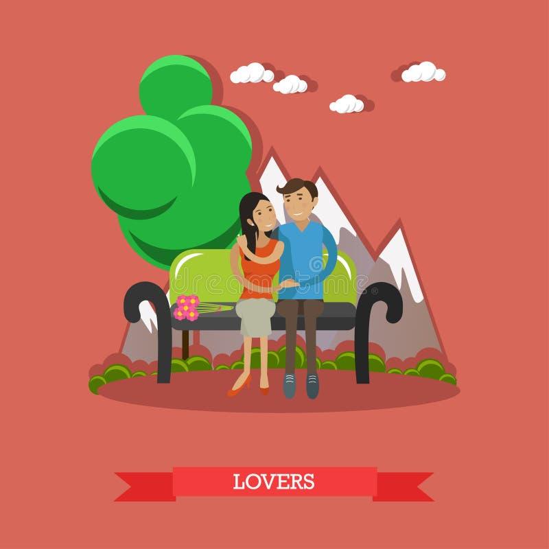 Couples se reposant sur le banc avec le fond de montagne Amour et illustration romantique de vecteur de concept illustration stock