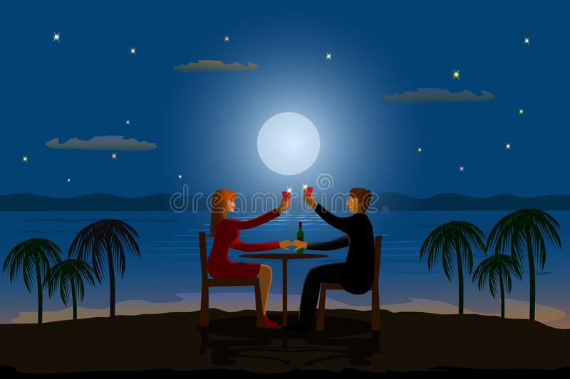 Couples are sipping wine on a wooden table on hilltop with the sea and the moon as the background vector illustration