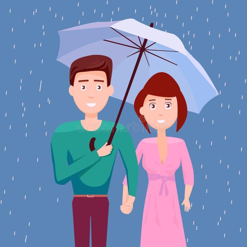 Couples sous le parapluie ensemble sous la pluie, ils saison des pluies heureuse, mousson, goutte de pluie, les gens illustration libre de droits