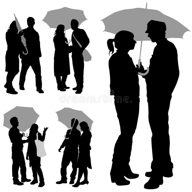 Couples sous un parapluie illustration de vecteur