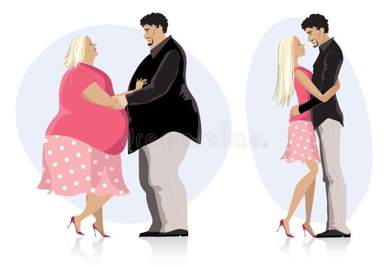 Couples suivants un régime dans l'amour illustration stock