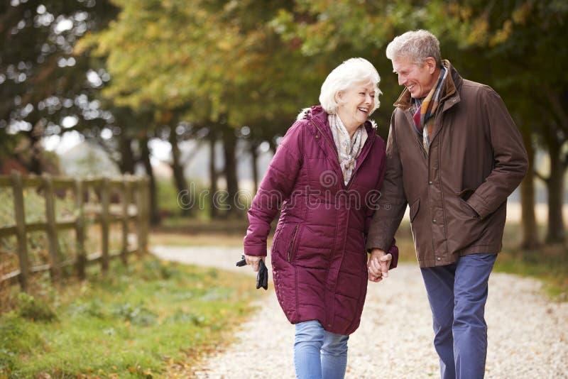 Couples supérieurs actifs sur la campagne d'Autumn Walk On Path Through image stock