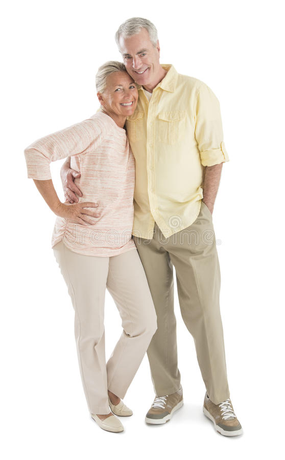 Couples supérieurs affectueux sur le fond blanc images libres de droits