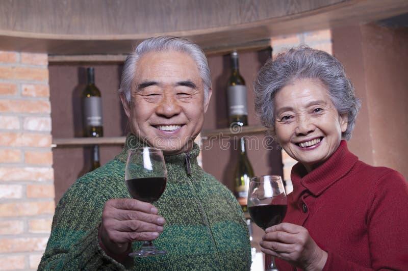 Couples supérieurs de sourire appréciant le vin, regardant l'appareil-photo image stock
