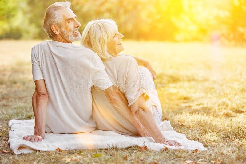Couples supérieurs de sourire en été dans le jardin images stock