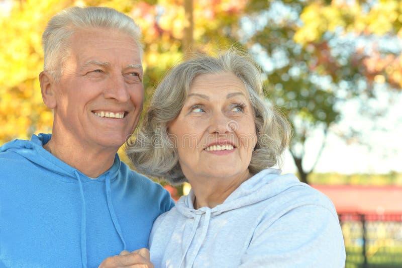 Download Couples Supérieurs En Parc D'automne Photo stock - Image du santé, regard: 76082590