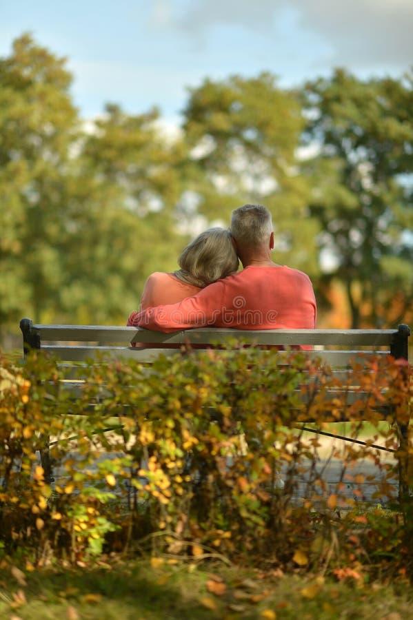 Download Couples Supérieurs En Parc D'automne Image stock - Image du actif, mûr: 76082595
