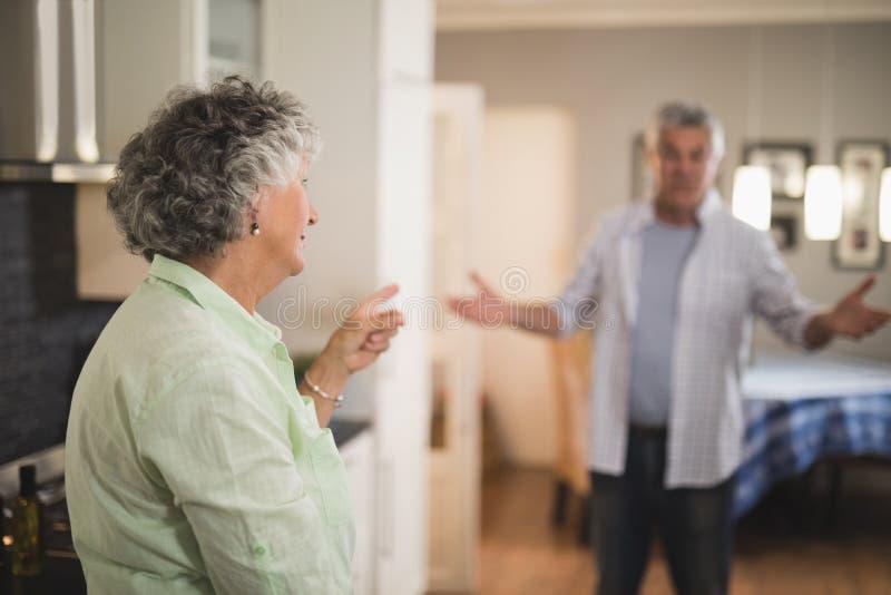 Couples supérieurs fâchés parlant à la maison photos libres de droits