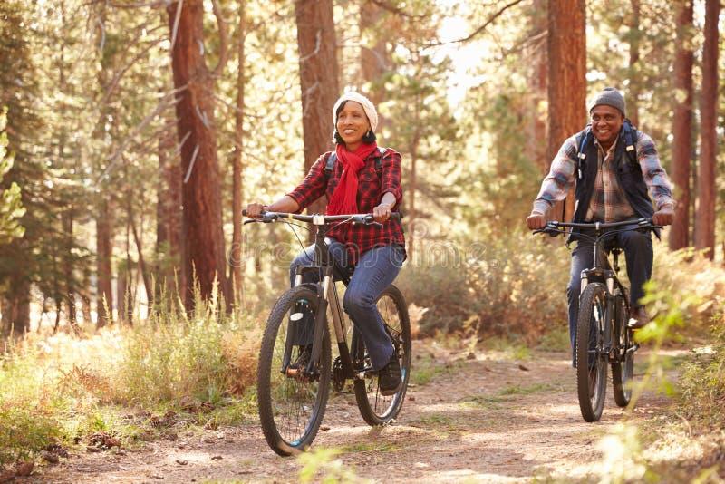 Couples supérieurs faisant un cycle par la région boisée d'automne images libres de droits