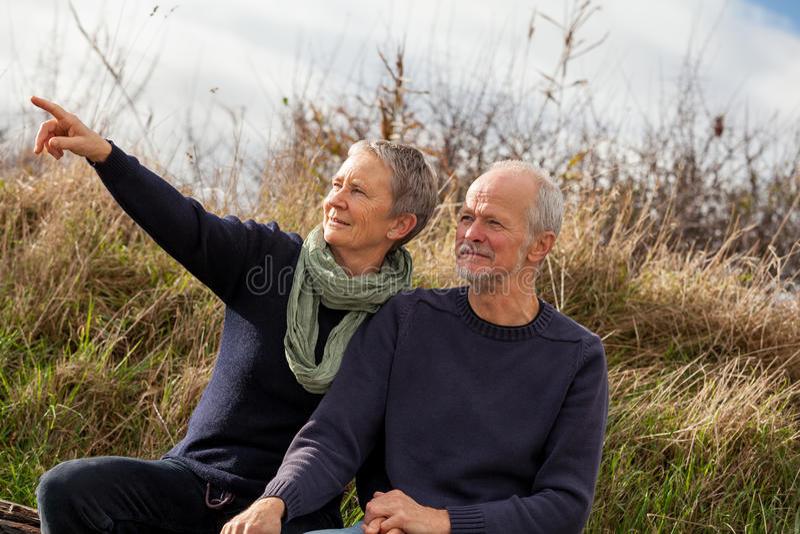 Couples supérieurs heureux détendant ensemble au soleil images stock