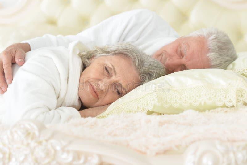 Couples supérieurs heureux dormant dans le lit photo libre de droits