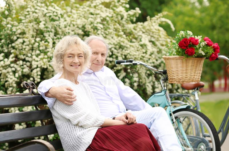 Couples supérieurs heureux se reposant sur le banc photo stock