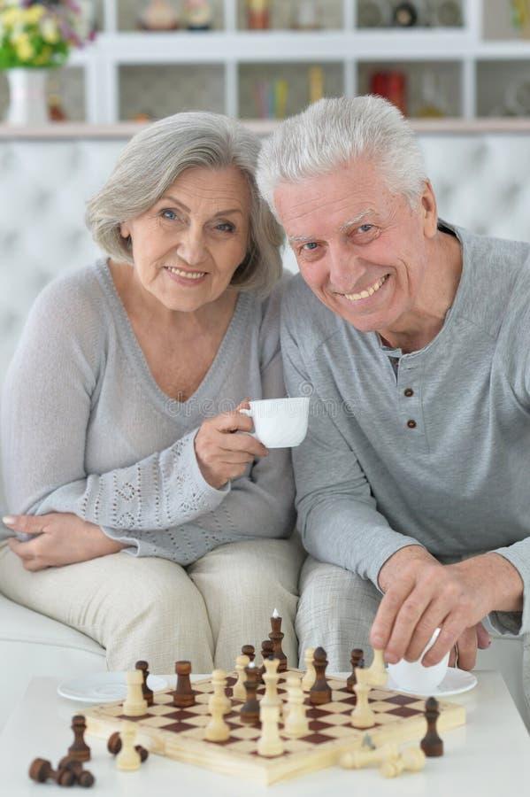 Couples supérieurs jouant des échecs photographie stock libre de droits