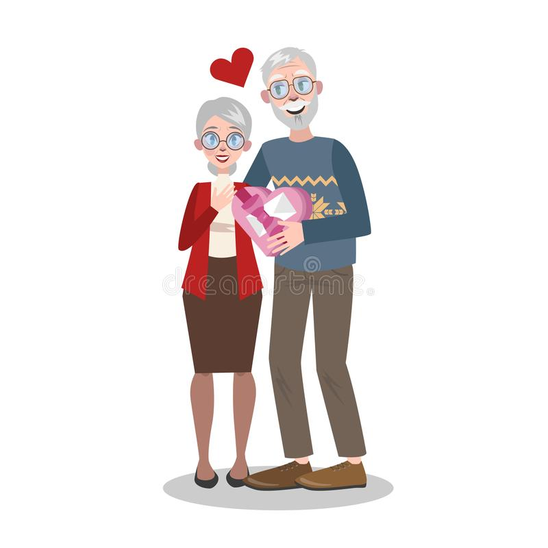 Couples supérieurs le Saint Valentin Vacances romantiques illustration libre de droits