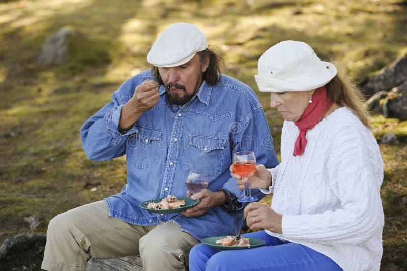 Couples supérieurs mangeant dehors dans la nature photos libres de droits