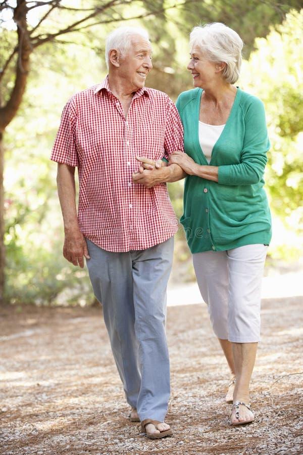 Couples supérieurs marchant dans la campagne ensemble photo libre de droits