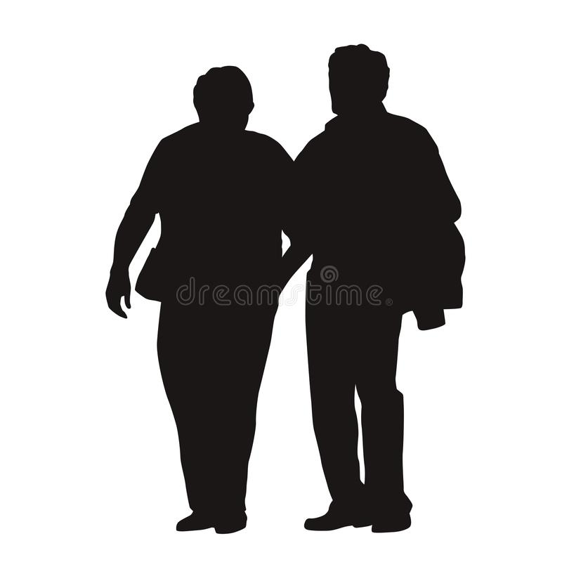 Couples supérieurs marchant ensemble, silhouette illustration stock