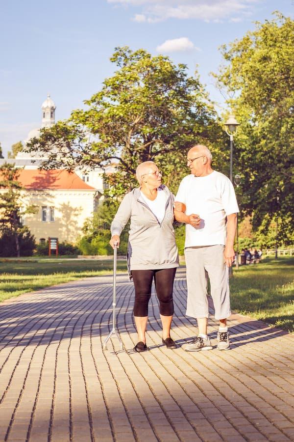Couples supérieurs marchant par le parc image stock