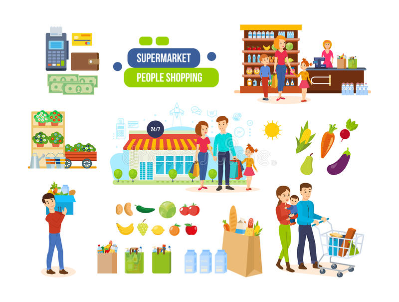Couples in supermarkets, shopping malls, buying natural foods, fruits, vegetables. People shopping in a supermarket concept. Couples in supermarkets and vector illustration