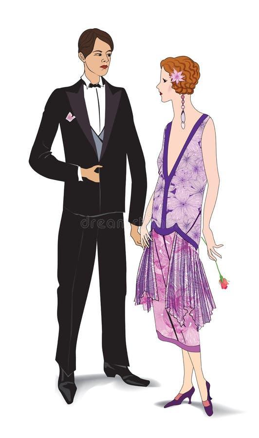 Couples sur la partie (style des années 1930) illustration libre de droits