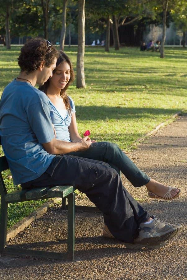 Couples sur le banc de stationnement regardant Fleur-Vertical photographie stock libre de droits