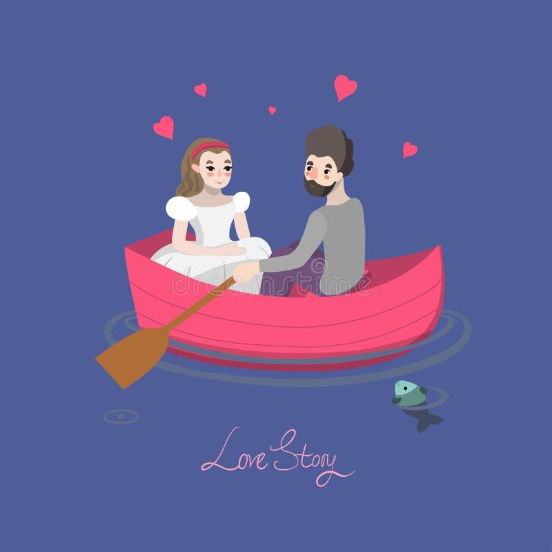 Couples sur le bateau illustration de vecteur