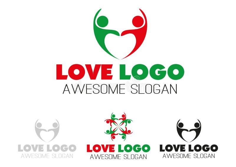Couples team heart logo design royalty free stock photo