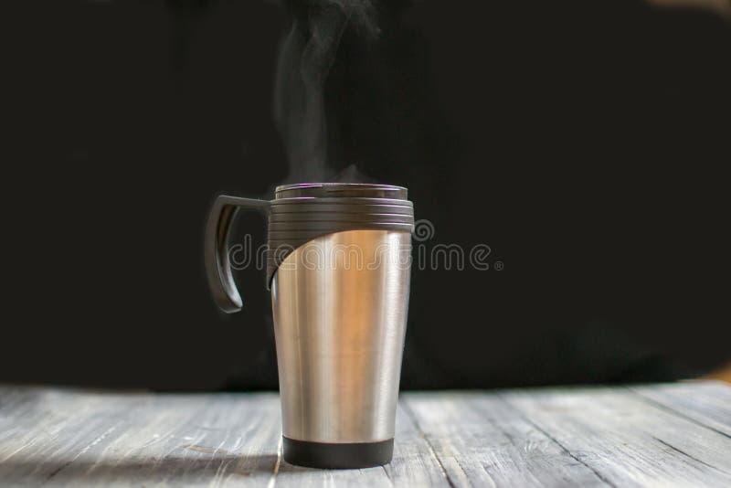 Couples thermo mug. With tea and coffee stock photos