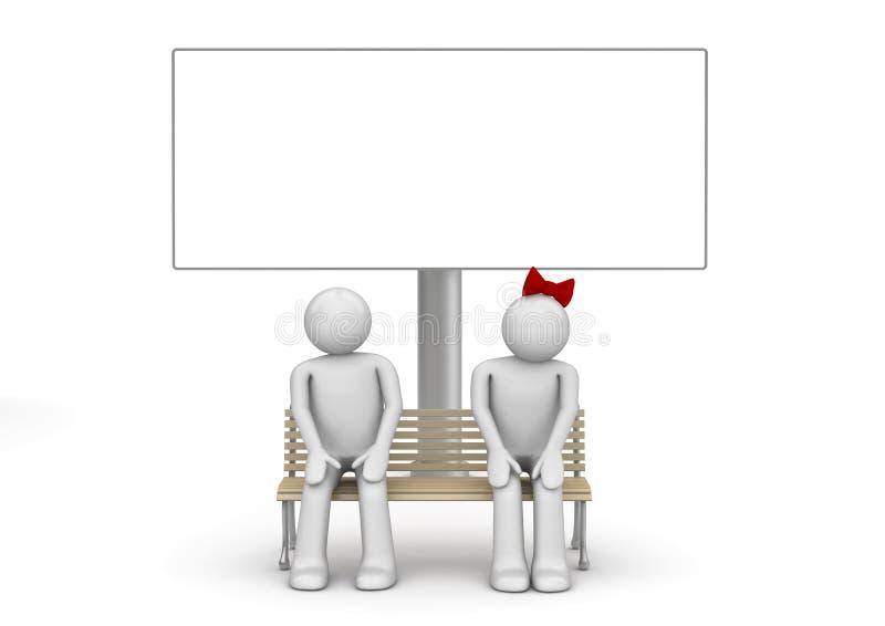 Couples timides sur un banc avec le copyspace photos stock