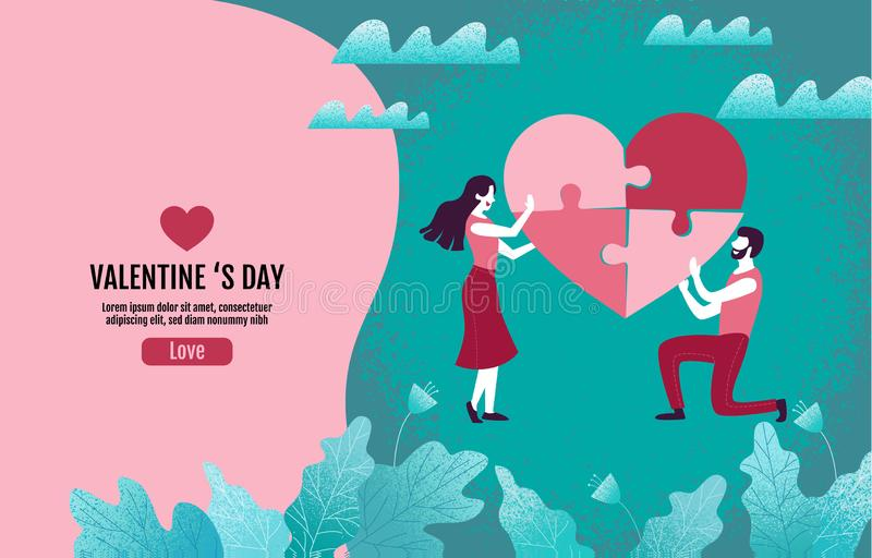 Couples together create heart-shaped puzzles. Valentine `s Day, Love, Vector Illustration, template design royalty free illustration
