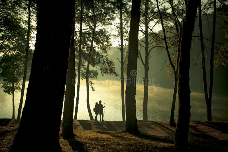 Couples of tourist taking a selfie  photo at pang ung maehongsorn northern of thailand royalty free stock photos