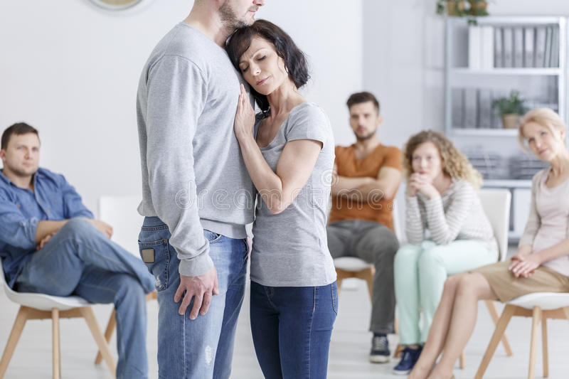 Couples with trust issues. Group therapy session for couples with trust issues stock photo