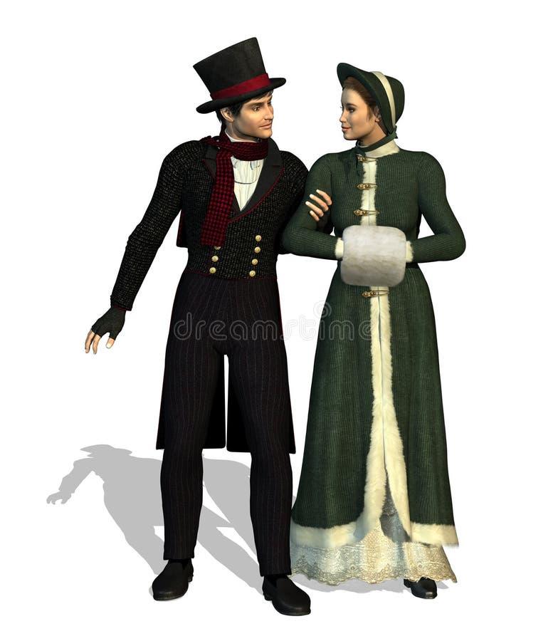 Couples victoriens illustration libre de droits