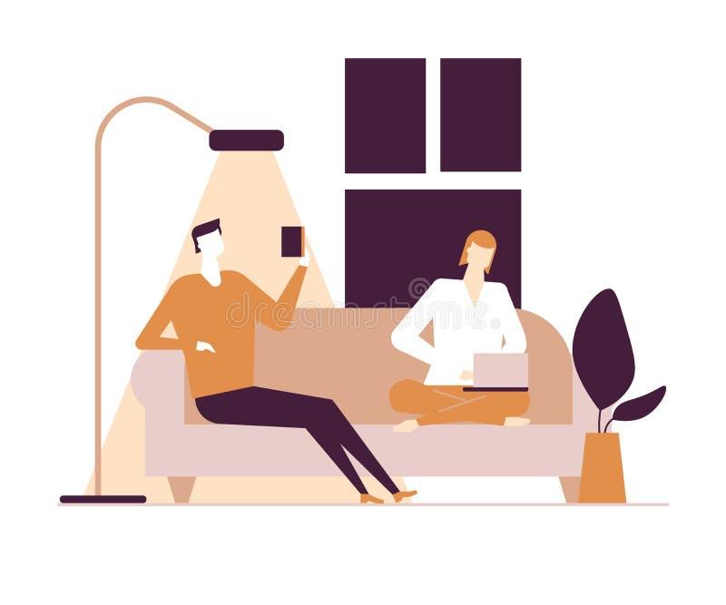 Couplez à la maison - l'illustration colorée de style plat de conception illustration stock